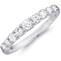 Camille round-cut diamond band with diamond set band by Eternity