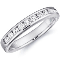 Sage Half-Way Channel Set Wedding Band