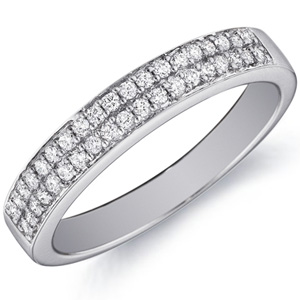 18k White Gold Lucy Double-Row Diamond Band by Eternity