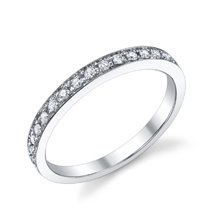 18k White Gold Diamond Wedding Band t.w. approx .20ct