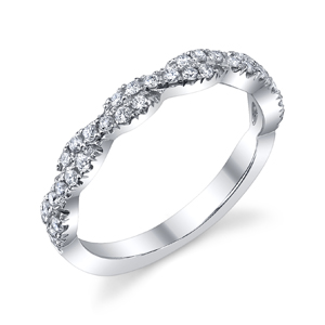 18k White Gold Diamond Crossover Style Band