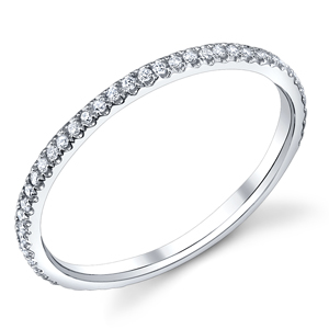 18k White Gold Diamond Wedding Band t.w. approx 1/5ct