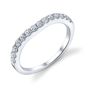 18k White Gold Curved Wedding Band t.w. approx .41ct