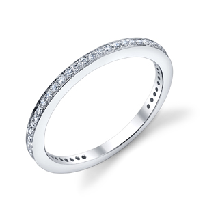 18k White Gold Bright Edge Wedding Band t.w. approx .12ct