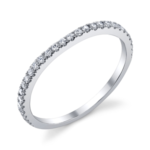 18k White Gold Diamond Wedding Band t.w. approx .20 Ct