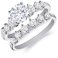 Flora Diamond Ring with Side Stones and Matching Band (.88 ctw.)