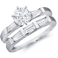 Carys Baguette Diamond Ring and Matching Band (.81 ctw.)