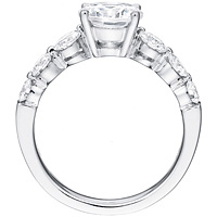 Dahlia round-cut diamond with six round accent diamonds by Eternity (.94 ctw.)