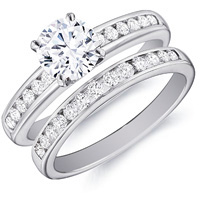 Isabelle Diamond Channel-Set Ring  with matching Band by Eternity (.50 ctw.)