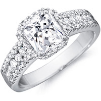 Harley princess-cut diamond with diamond studded band by Eternity (.21 ctw.)