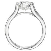 Zoe Diamond Solitaire with Fused Double Band by Eternity (.04 ctw.)