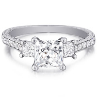 Lola Triple Princess-Cut Diamond Ring with Diamond Band by Eternity