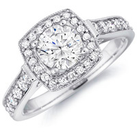 Tessa Cathedral Diamond Ring with Cushion Framed Setting (.50 ctw.)