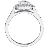 Tessa Cathedral Diamond Ring with Cushion Framed Setting and Matcing Band (.94 ctw.)