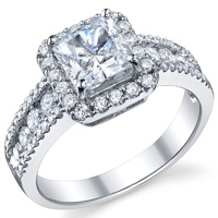 Nina Three Row Halo Princess Engagement Ring