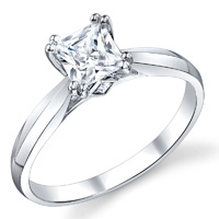 Hollie Double Prong Princess Solitaire Ring