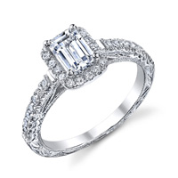 Rosalie Vintage Emerald Cut Halo Ring With Scroll Work (.34 ctw.)