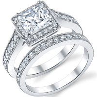 Princes Cut Diamond Halo Ring With Matching Band