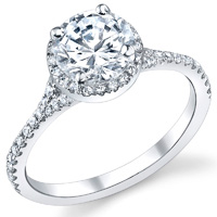 Diamond Halo Ring With Split Shank