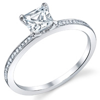 Thin Pave Princess Cut Ring