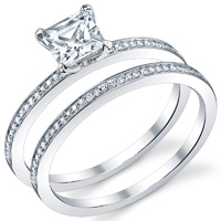Thin Pave Princess Cut Ring With Matching Band