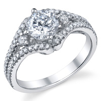 Three Stone Engagement With Split Shank Ring