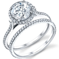 Petite Cathedral Diamond Halo Ring With Matching Band