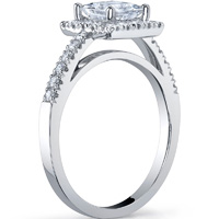 Princess Cut Halo Ring With Open Gallery