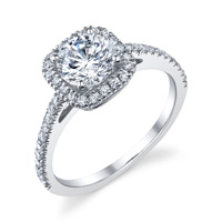 Cushion Halo Pave Ring