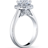 Halo Ring With Plain Band and Surprise Diamonds