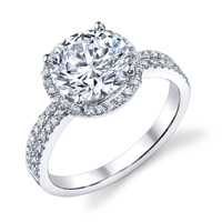 Gloria Pave Diamond Halo Ring