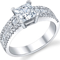 Three Row Princess Cut Pave Engagement Ring