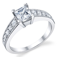 Princess Cut Diamond Ring With Milgrain