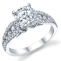 Graduated Three Row Pave Engagement Ring