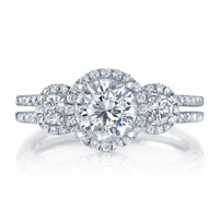 Three Stone Halo Ring With Split Shank